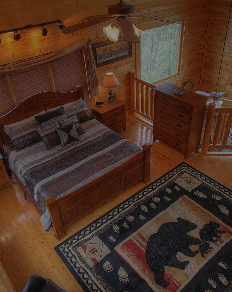 Spacious loft bedroom with king bed in cabin in Gatlinburg TN