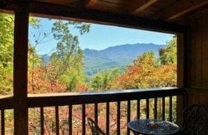 Beautiful mountain views from the deck of a Gatlinburg Tennessee rental in the fall.