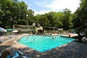 A swimming pool at a cabin community in Gatlinburg.