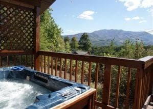 Hot tub on the deck of a cabin in Gatlinburg